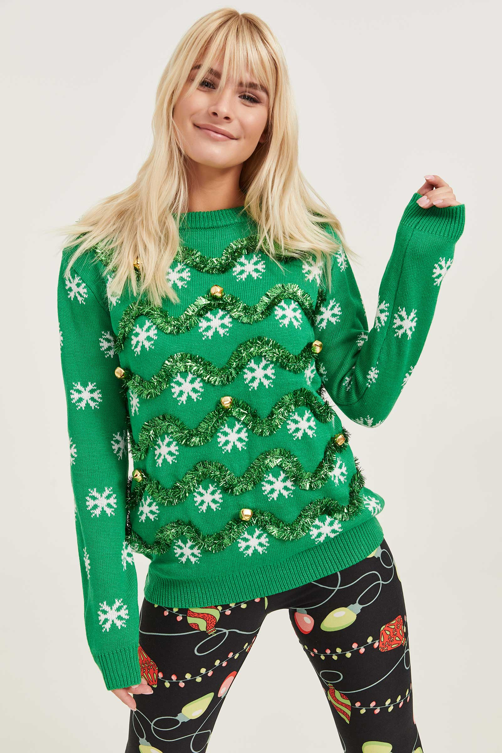 Ardene Ugly Garland And Bell Xmas Sweater, Medium